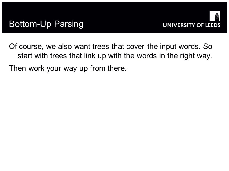 Bottom-Up Parsing Of course, we also want trees that cover the input words.
