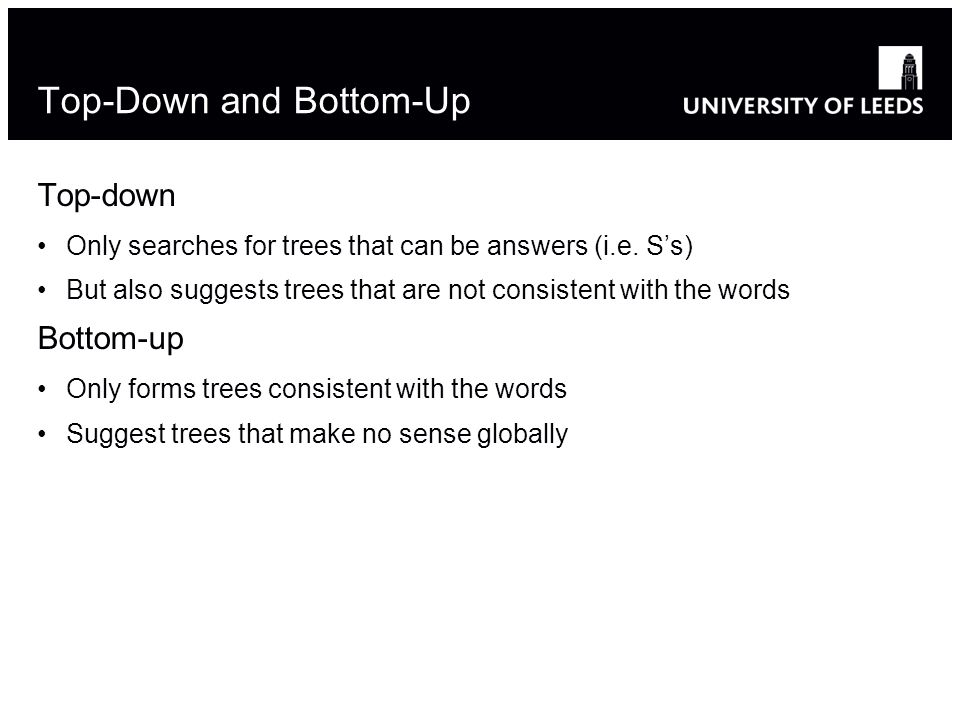 Top-Down and Bottom-Up Top-down Only searches for trees that can be answers (i.e.