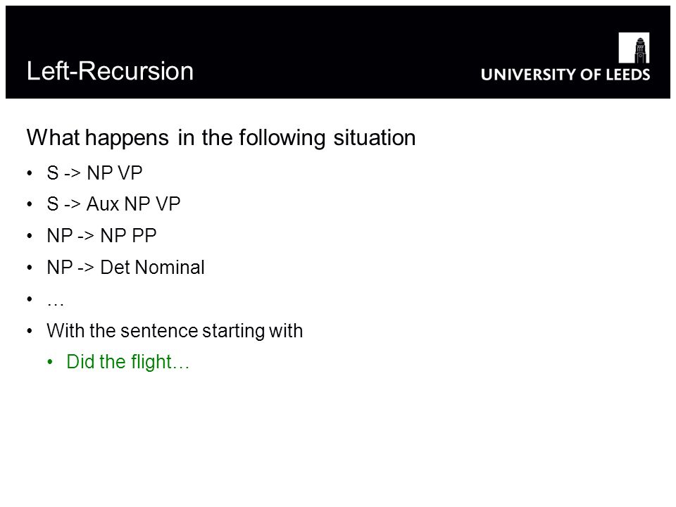 Left-Recursion What happens in the following situation S -> NP VP S -> Aux NP VP NP -> NP PP NP -> Det Nominal … With the sentence starting with Did the flight…