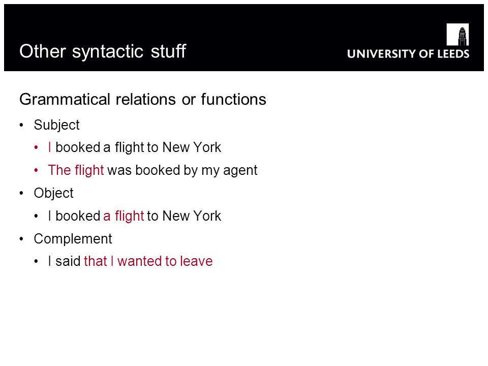 Other syntactic stuff Grammatical relations or functions Subject I booked a flight to New York The flight was booked by my agent Object I booked a flight to New York Complement I said that I wanted to leave