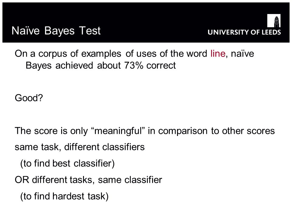 On a corpus of examples of uses of the word line, naïve Bayes achieved about 73% correct Good.