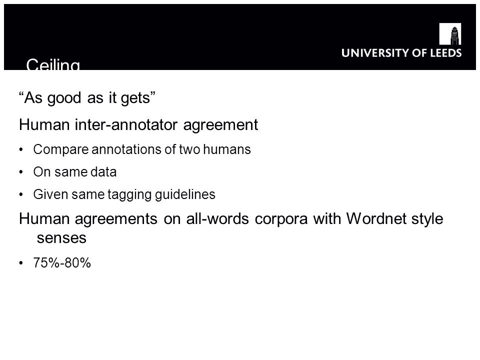 As good as it gets Human inter-annotator agreement Compare annotations of two humans On same data Given same tagging guidelines Human agreements on all-words corpora with Wordnet style senses 75%-80% Ceiling