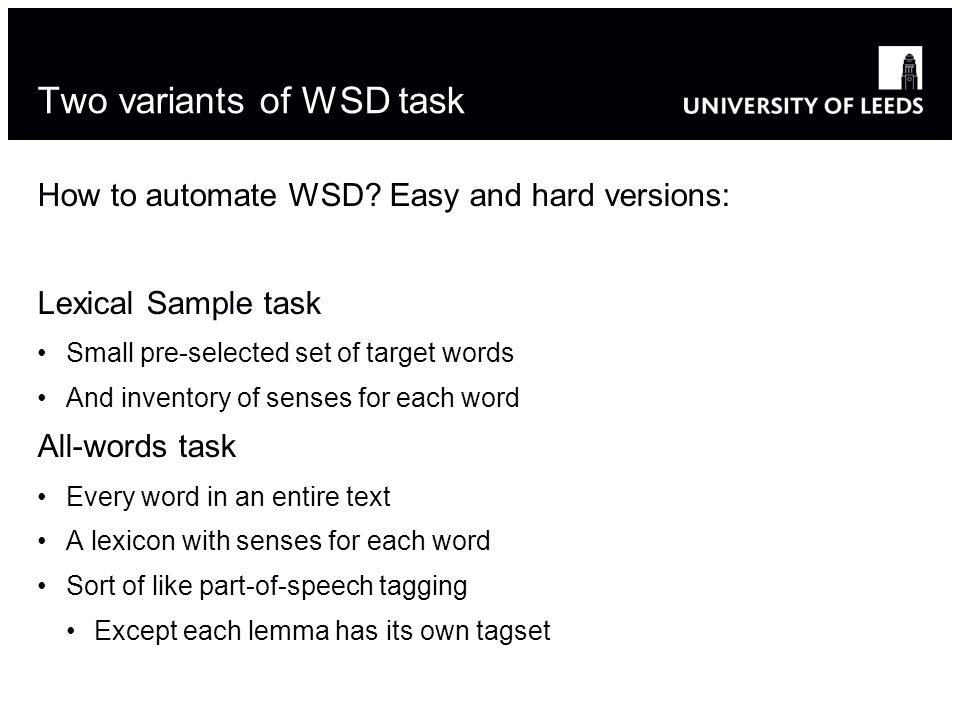 How to automate WSD.
