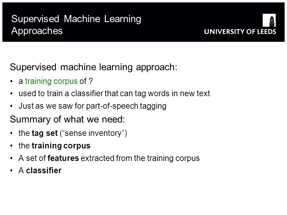 Supervised machine learning approach: a training corpus of .