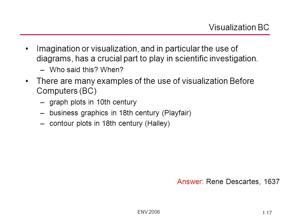 ENV 2006 1.17 Imagination or visualization, and in particular the use of diagrams, has a crucial part to play in scientific investigation.
