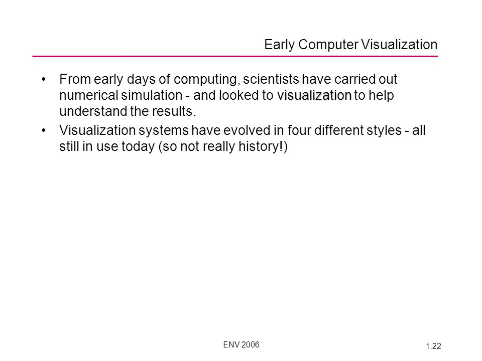 ENV 2006 1.22 visualizationFrom early days of computing, scientists have carried out numerical simulation - and looked to visualization to help understand the results.