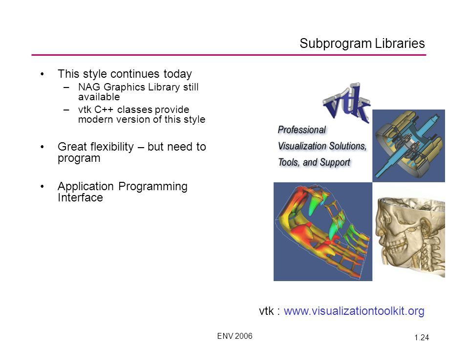ENV 2006 1.24 Subprogram Libraries This style continues today –NAG Graphics Library still available –vtk C++ classes provide modern version of this style Great flexibility – but need to program Application Programming Interface vtk : www.visualizationtoolkit.org