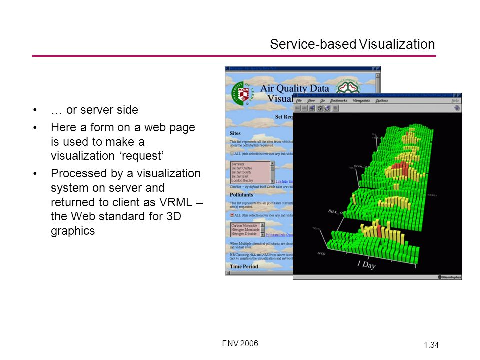 ENV 2006 1.34 Service-based Visualization … or server side Here a form on a web page is used to make a visualization request Processed by a visualization system on server and returned to client as VRML – the Web standard for 3D graphics