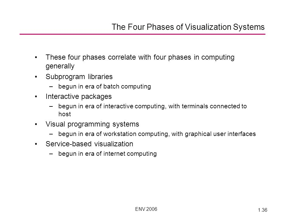 ENV 2006 1.36 These four phases correlate with four phases in computing generally Subprogram libraries –begun in era of batch computing Interactive packages –begun in era of interactive computing, with terminals connected to host Visual programming systems –begun in era of workstation computing, with graphical user interfaces Service-based visualization –begun in era of internet computing The Four Phases of Visualization Systems