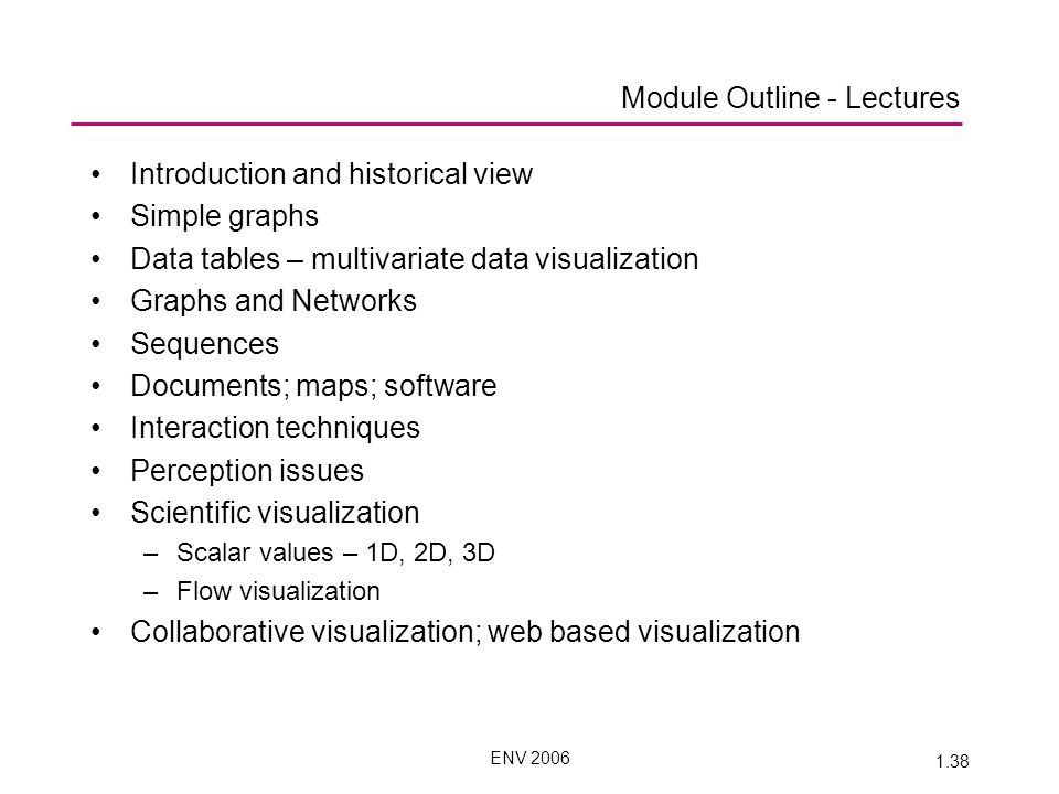 ENV 2006 1.38 Module Outline - Lectures Introduction and historical view Simple graphs Data tables – multivariate data visualization Graphs and Networks Sequences Documents; maps; software Interaction techniques Perception issues Scientific visualization –Scalar values – 1D, 2D, 3D –Flow visualization Collaborative visualization; web based visualization