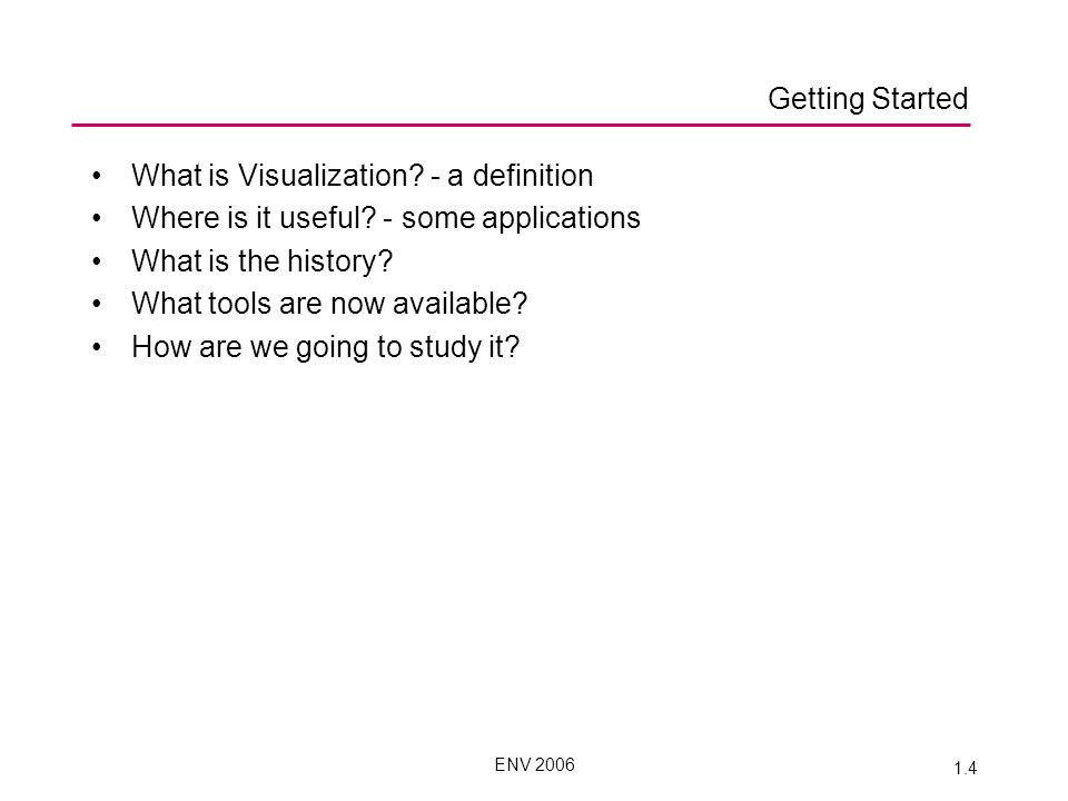 ENV 2006 1.4 What is Visualization. - a definition Where is it useful.