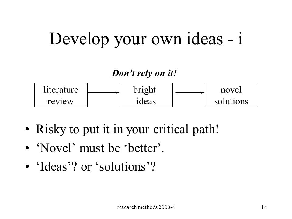 research methods 2003-414 Develop your own ideas - i literature review bright ideas novel solutions Dont rely on it.