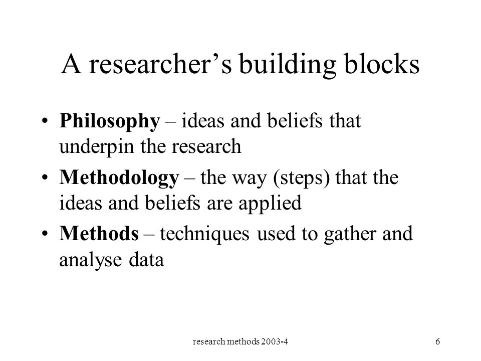 research methods 2003-46 A researchers building blocks Philosophy – ideas and beliefs that underpin the research Methodology – the way (steps) that the ideas and beliefs are applied Methods – techniques used to gather and analyse data