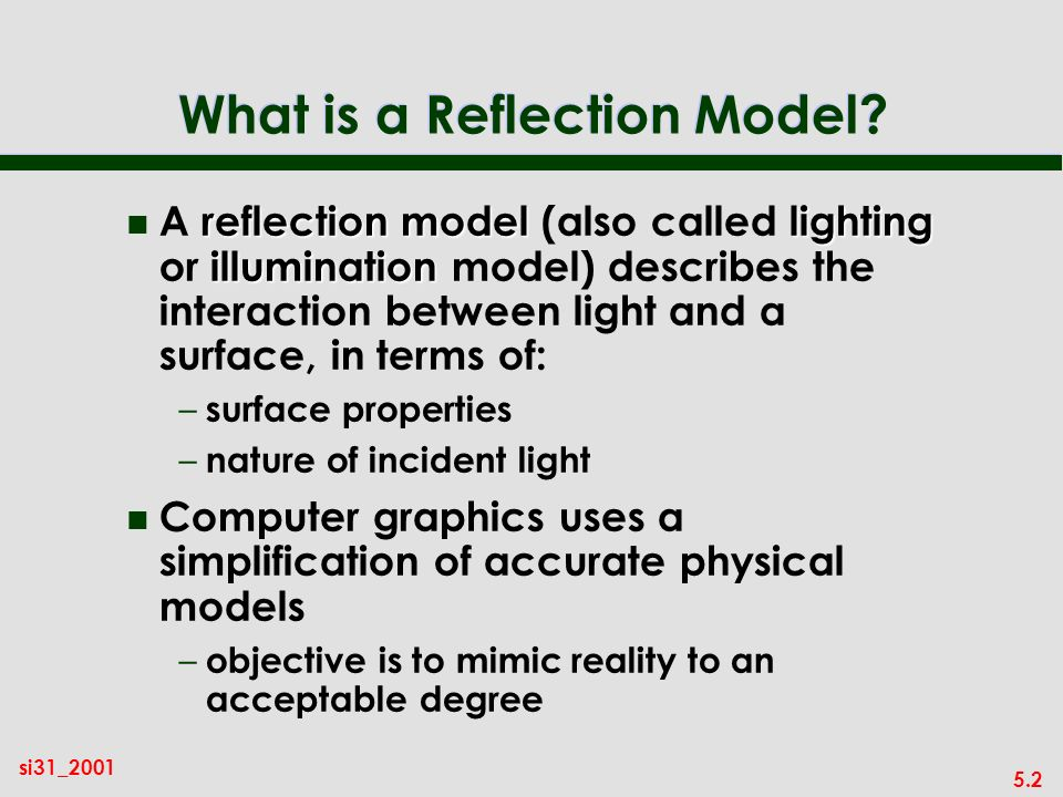 5.2 si31_2001 What is a Reflection Model.