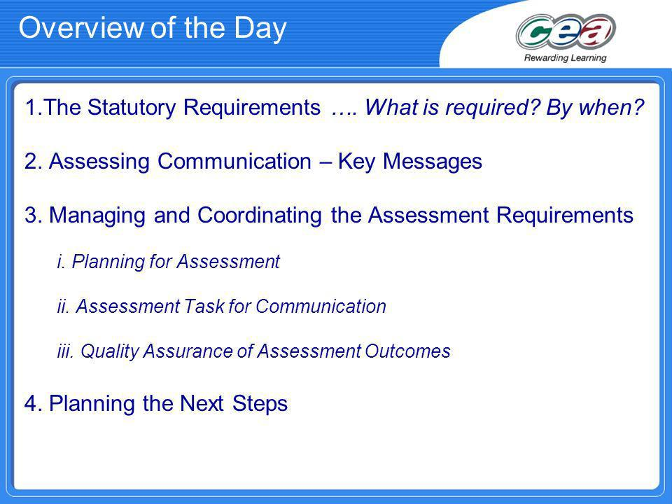 Overview of the Day 1.The Statutory Requirements ….