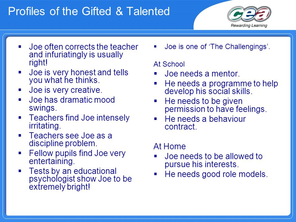 Profiles of the Gifted & Talented Joe is one of The Challengings.