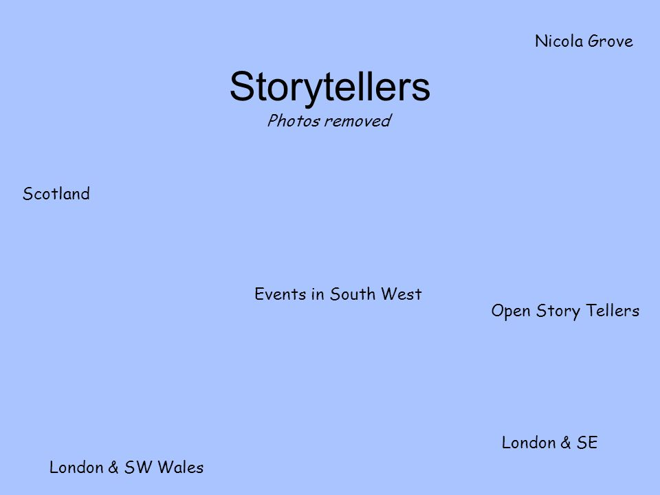 Storytellers Events in South West Open Story Tellers London & SE London & SW Wales Nicola Grove Scotland Photos removed