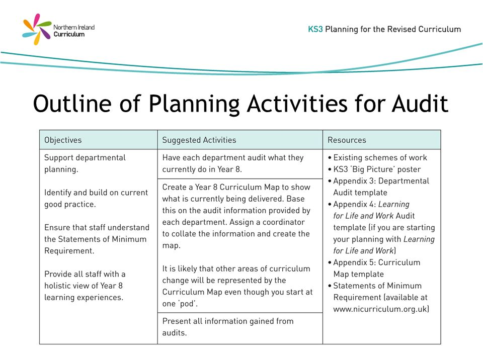 Outline of Planning Activities for Audit