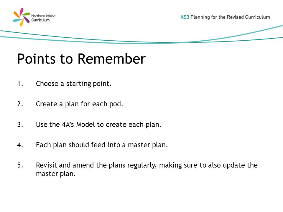 1.Choose a starting point. 2.Create a plan for each pod.