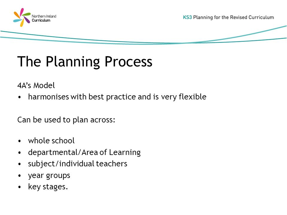 The Planning Process 4As Model harmonises with best practice and is very flexible Can be used to plan across: whole school departmental/Area of Learning subject/individual teachers year groups key stages.