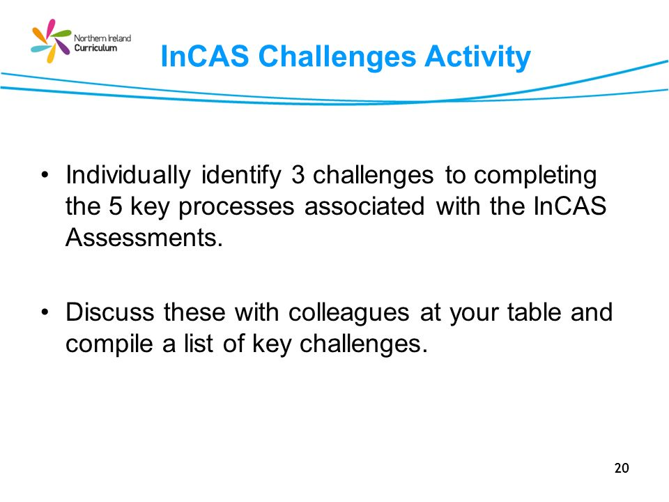 20 InCAS Challenges Activity Individually identify 3 challenges to completing the 5 key processes associated with the InCAS Assessments.