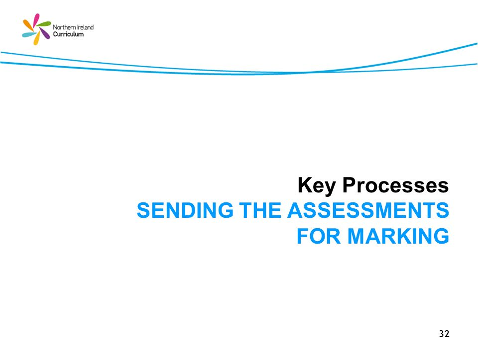 32 Key Processes SENDING THE ASSESSMENTS FOR MARKING