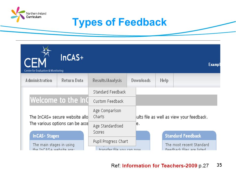 35 Types of Feedback Ref: Information for Teachers-2009 p.27