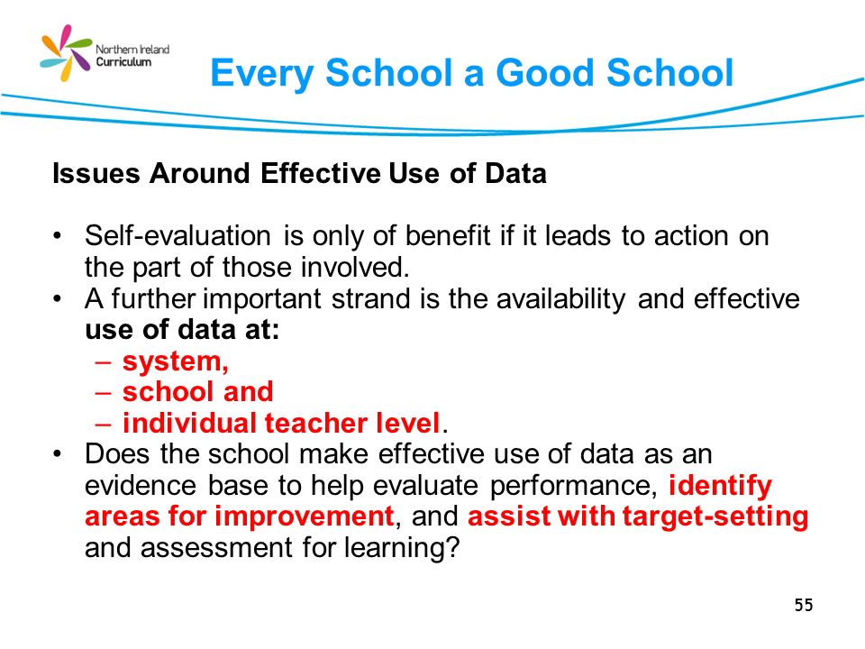 55 Every School a Good School Issues Around Effective Use of Data Self-evaluation is only of benefit if it leads to action on the part of those involved.