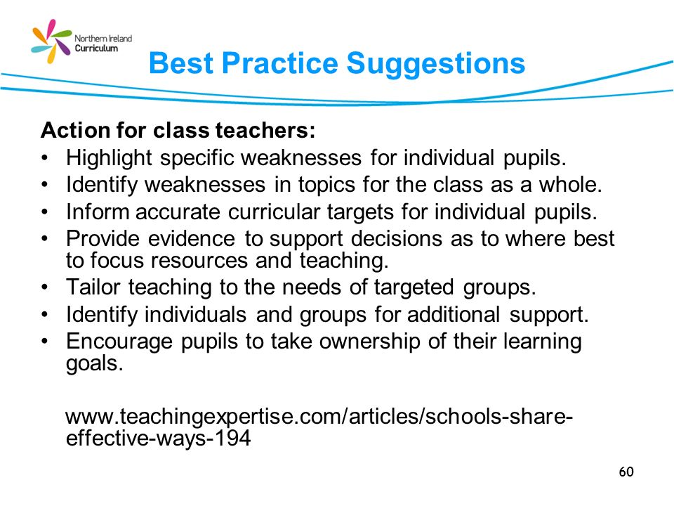60 Best Practice Suggestions Action for class teachers: Highlight specific weaknesses for individual pupils.