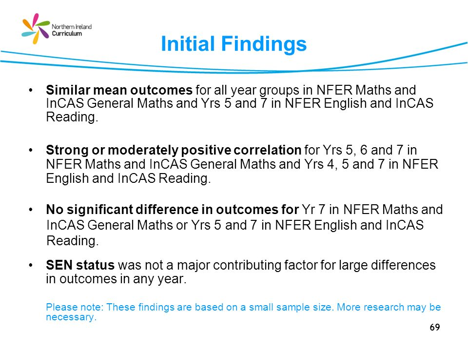 69 Initial Findings Similar mean outcomes for all year groups in NFER Maths and InCAS General Maths and Yrs 5 and 7 in NFER English and InCAS Reading.