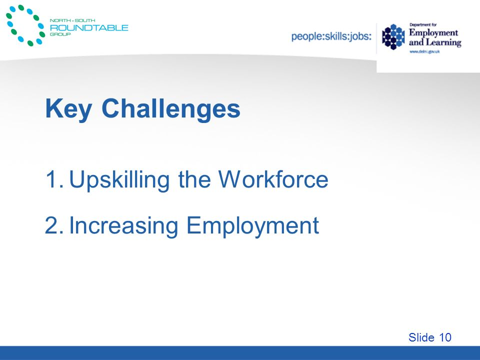 Slide 10 Key Challenges 1.Upskilling the Workforce 2.Increasing Employment