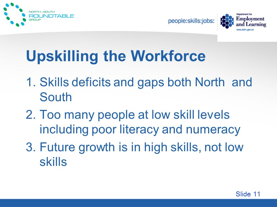 Slide 11 Upskilling the Workforce 1.Skills deficits and gaps both North and South 2.Too many people at low skill levels including poor literacy and numeracy 3.Future growth is in high skills, not low skills