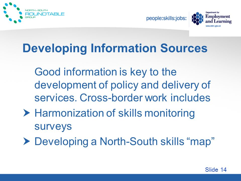 Slide 14 Developing Information Sources Good information is key to the development of policy and delivery of services.