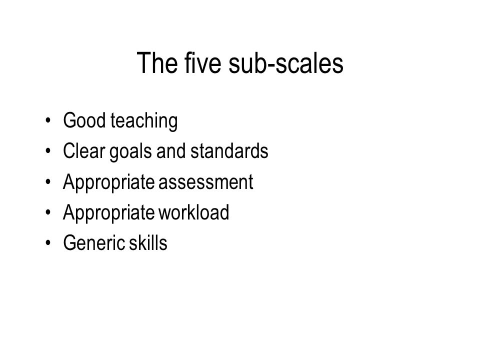 The five sub-scales Good teaching Clear goals and standards Appropriate assessment Appropriate workload Generic skills