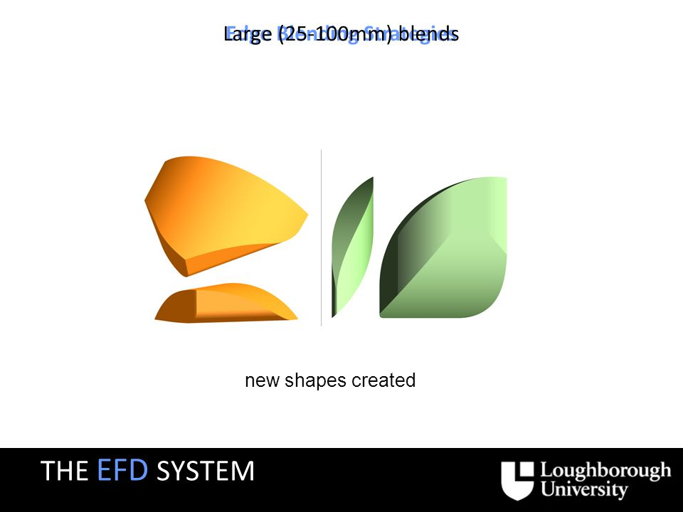 Edge Blending Strategies Large (25-100mm) blends new shapes created THE EFD SYSTEM