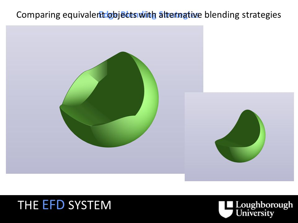 Edge Blending Strategies Comparing equivalent objects with alternative blending strategies THE EFD SYSTEM