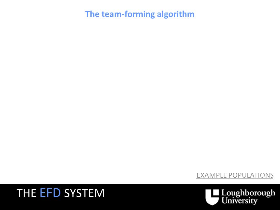 The team-forming algorithm EXAMPLE POPULATIONS THE EFD SYSTEM