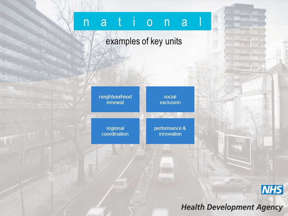 n a t i o n a l examples of key units neighbourhood renewal social exclusion regional coordination performance & innovation