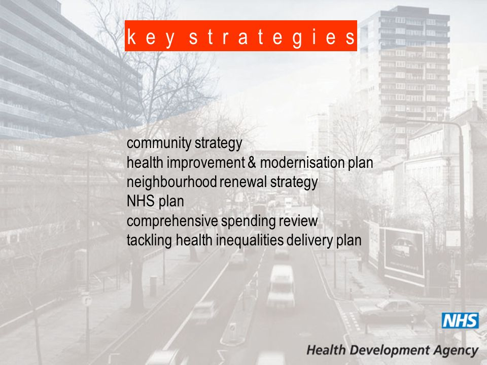 k e y s t r a t e g i e s community strategy health improvement & modernisation plan neighbourhood renewal strategy NHS plan comprehensive spending review tackling health inequalities delivery plan