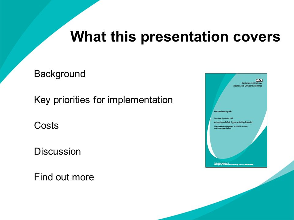 What this presentation covers Background Key priorities for implementation Costs Discussion Find out more
