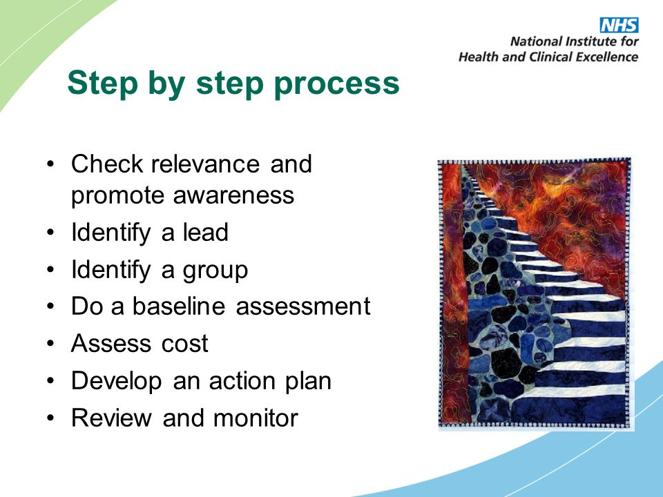 Step by step process Check relevance and promote awareness Identify a lead Identify a group Do a baseline assessment Assess cost Develop an action plan Review and monitor