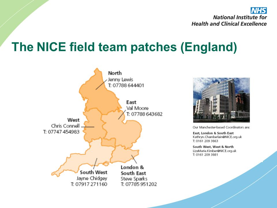 The NICE field team patches (England)