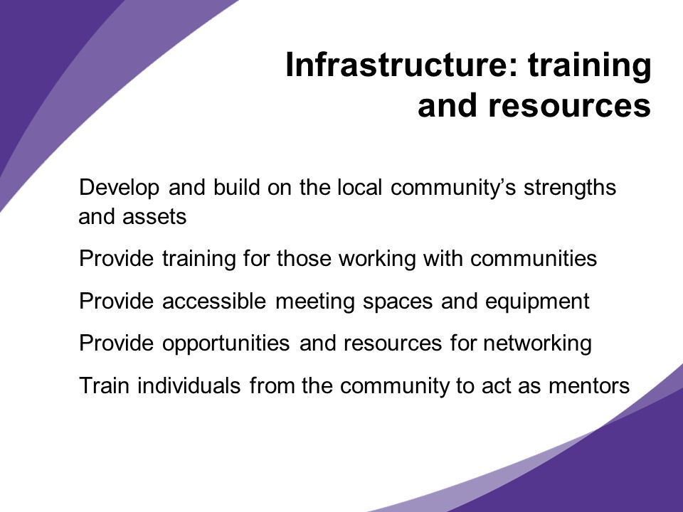 Infrastructure: training and resources Develop and build on the local communitys strengths and assets Provide training for those working with communities Provide accessible meeting spaces and equipment Provide opportunities and resources for networking Train individuals from the community to act as mentors