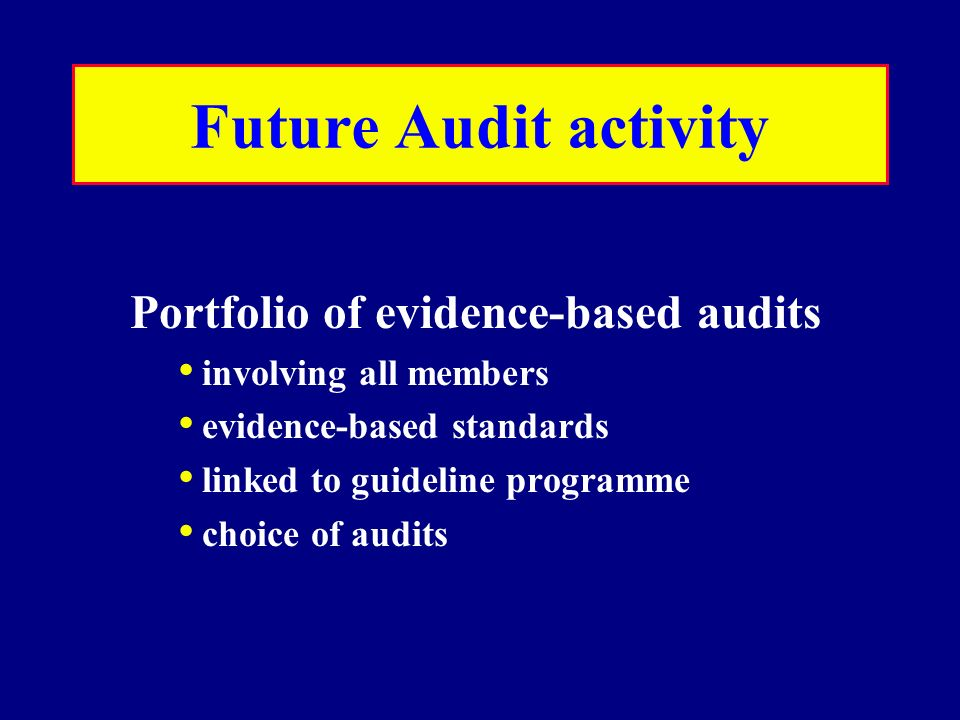 Future Audit activity Portfolio of evidence-based audits involving all members evidence-based standards linked to guideline programme choice of audits