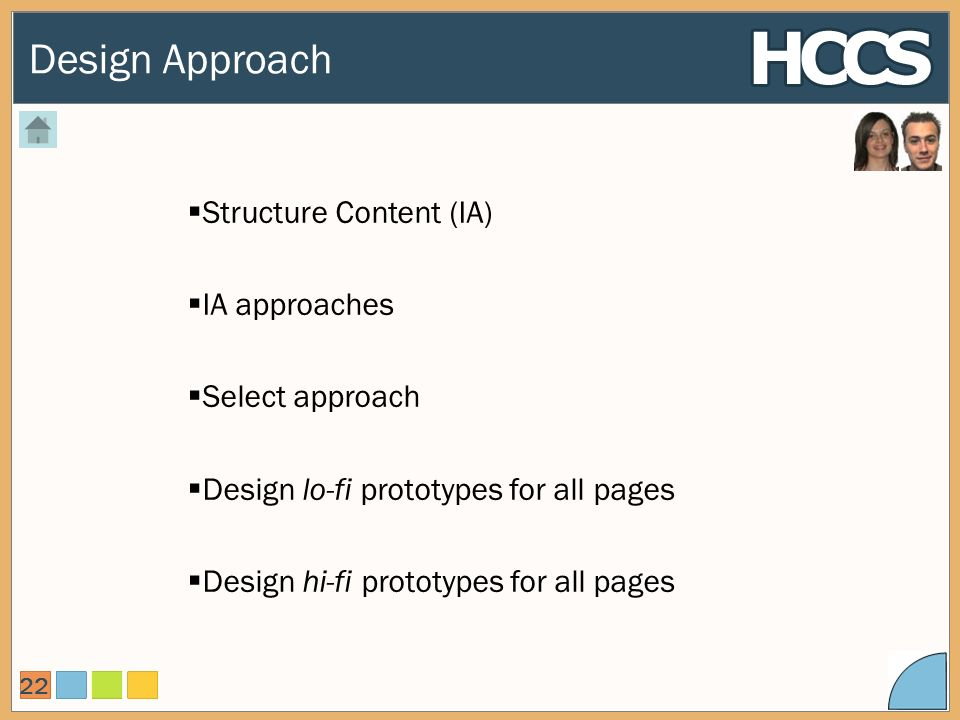 Design Approach 22 Structure Content (IA) IA approaches Select approach Design lo-fi prototypes for all pages Design hi-fi prototypes for all pages