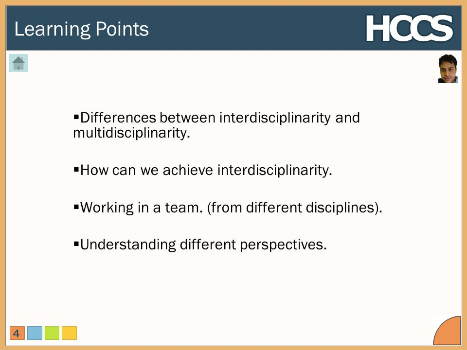 Learning Points 4 Differences between interdisciplinarity and multidisciplinarity.
