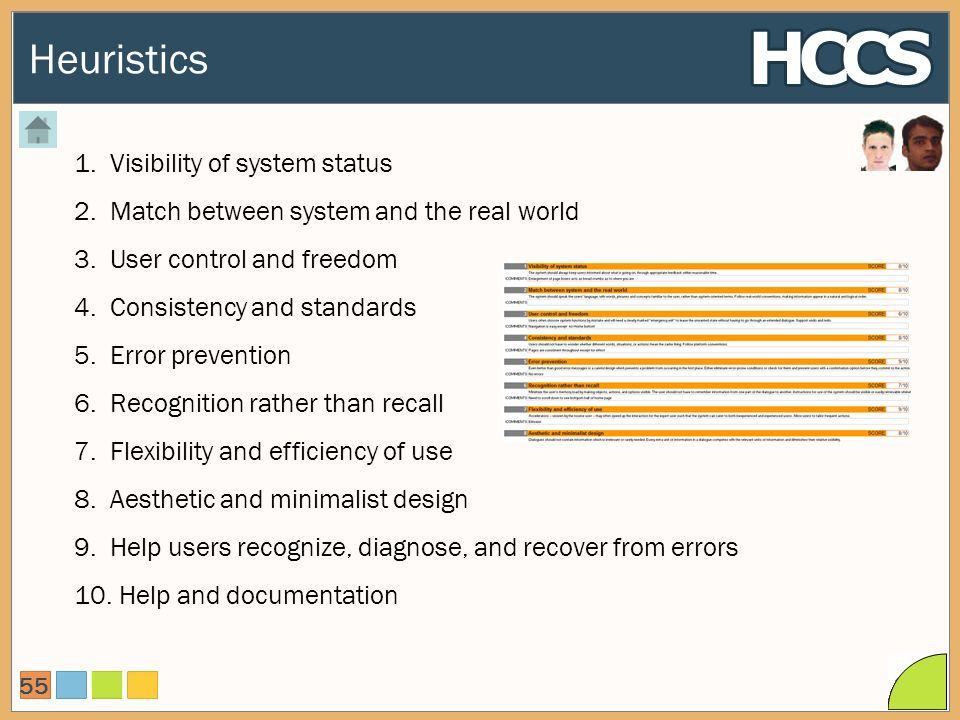 Heuristics 55 1.Visibility of system status 2.Match between system and the real world 3.User control and freedom 4.Consistency and standards 5.Error prevention 6.Recognition rather than recall 7.Flexibility and efficiency of use 8.Aesthetic and minimalist design 9.Help users recognize, diagnose, and recover from errors 10.