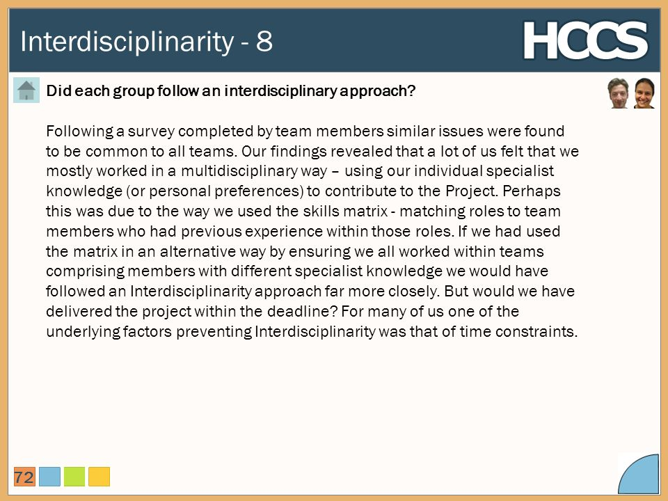 Interdisciplinarity - 8 72 Did each group follow an interdisciplinary approach.