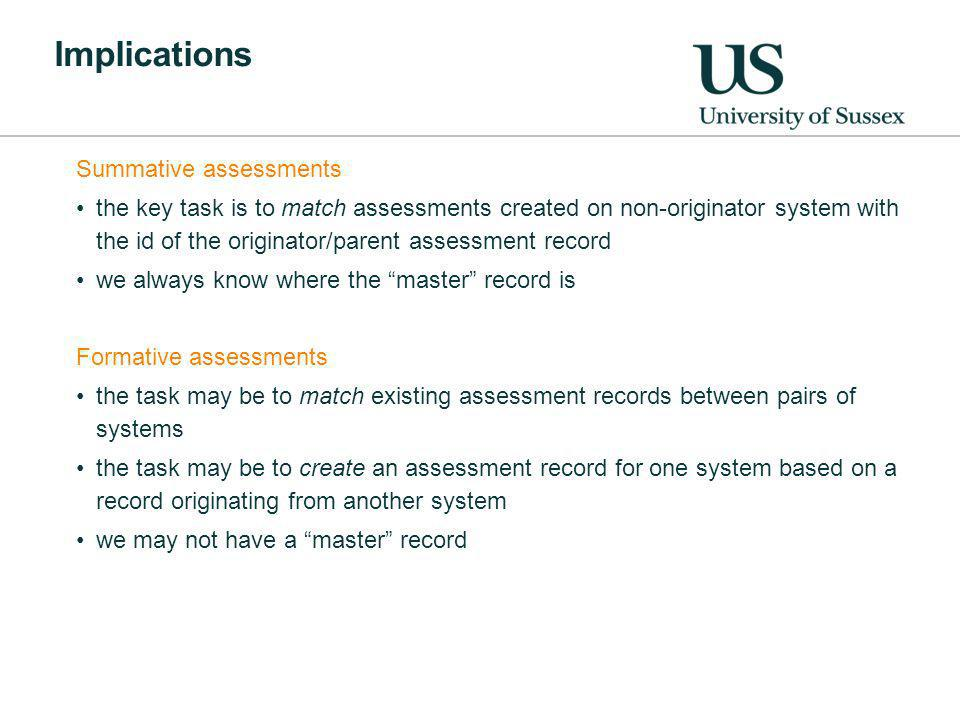 Implications Summative assessments the key task is to match assessments created on non-originator system with the id of the originator/parent assessment record we always know where the master record is Formative assessments the task may be to match existing assessment records between pairs of systems the task may be to create an assessment record for one system based on a record originating from another system we may not have a master record