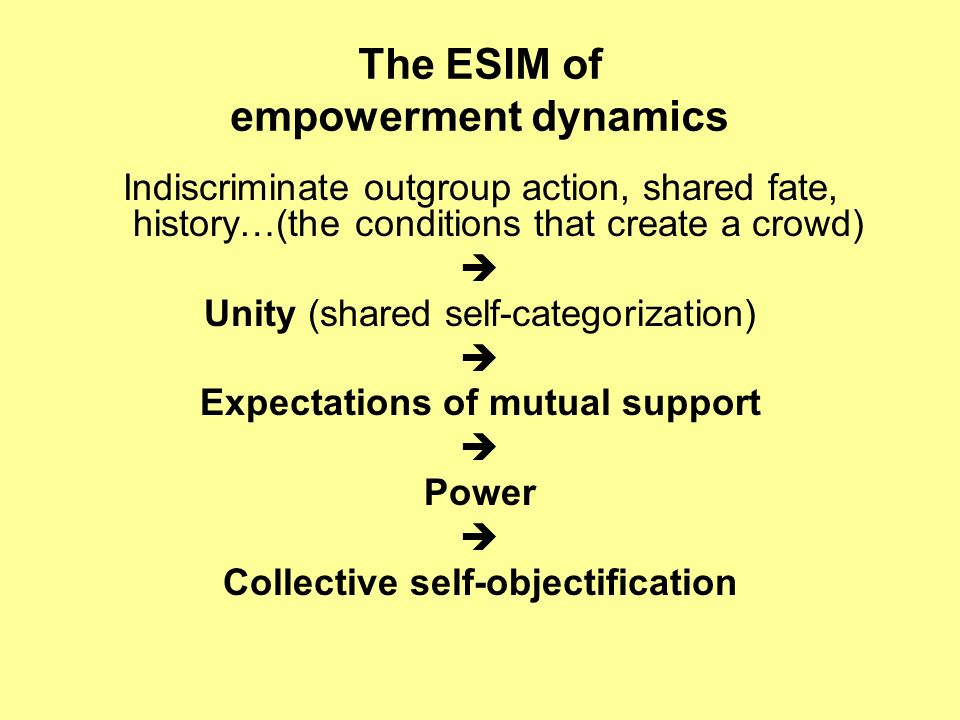 The ESIM of empowerment dynamics Indiscriminate outgroup action, shared fate, history…(the conditions that create a crowd) Unity (shared self-categorization) Expectations of mutual support Power Collective self-objectification
